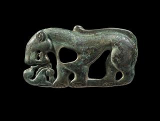 image Belt plaque in the form of a feline attacking a deer