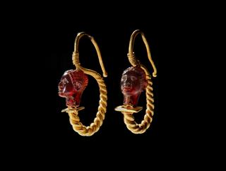 image Pair of Earrings with African Heads